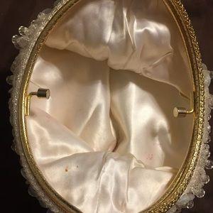 Vintage Bags - Vintage Hong Kong bead/sequin gold handle purse
